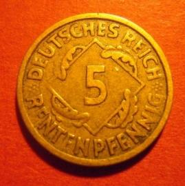 Weimar Republic - 5  Rentenpfennig 1923 A. CuZnAl J308/KM32 (6273)