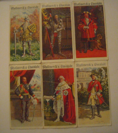 Old German collector cards - Dukes of Württemberg complete series , I - VI.  Stollwerk Chocolate album 4 group 164 , 1900 - 1920's 92x48mm (15311)