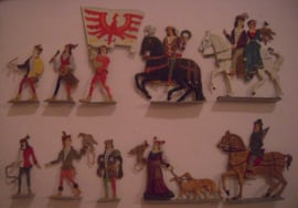 1100 - 1200's Medieval hunting party , 10x flat 50mm scale (16078)