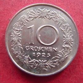 Austria - 10 Groschen  1925. CuNi ANK010/KM2838 (7380)