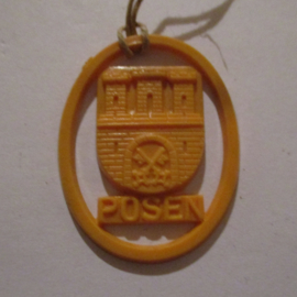 1941-06-14/15 German VDA donation gift. Coat-of-arms German border towns - Posen / Poznań (POL). Synthetic yellow/orange 37x28mm T133 (16268)