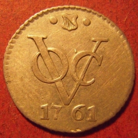VOC Utrecht - City , ½ Duit 1761 , struck in silver !!! Very Rare !!!     KM112.2a (10634)