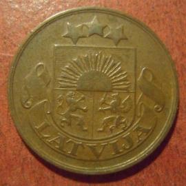 Erste Republik Lettland , 2 Santimi 1922 , kein Münzzeichen !!!      KM2b  (11313)