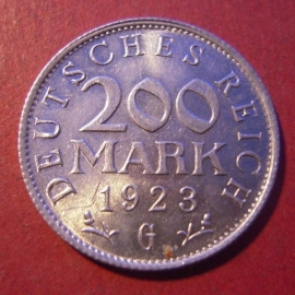Weimar Republic - 200 Mark 1923 G. Al J304/KM35 (8546)