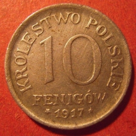 Poland , German occupation WWI , 10 Fenigów 1917 F      J606a/KM6 (10069)