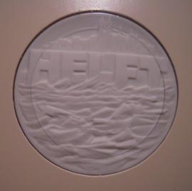 2002 Meissen , High water catastrophe - donation. Meissen porcelain white 51mm in original card (14438)