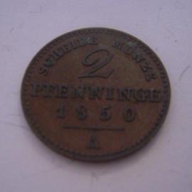 Pruissia - Friedrich Wilhelm IV , 2 Pfenninge 1850 A. XF !!! Cu KM452 (15226)
