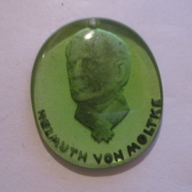 1941-03-1/2 German WHW donation gift. Heads of famous Germans - Helmuth von Moltke. Glass green 35mm T373 (16312)