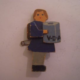 1935-3-9 German VDA donation pin. Student collectant - girl blue dress. Wooden ca 50mm T084 (15209)
