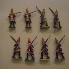 1760 Prussian fusiliers , 8x Semi-flat 40mm scale (14357)