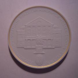 1993 A Meissen , Städte-Thaler - Nationaltheater Weimar.  Goldfaden am Rand !!! Meissen Porzellan 64mm W10.236.2.1.5 - V (14789)