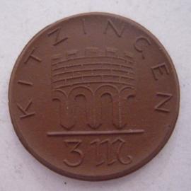 Kitzingen , 3 Mark  1921. Meissen Porzellan 32mm Sch152a- III  (14202)