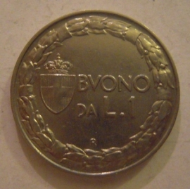 Kingdom Italy - Victor Emmanuel III , 1 Lira 1922      KM62 (14080)