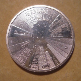 Beatrix - 5 Euro 2008 - Architecture. Unc !!! Silvered !!!  KM279 (12821)