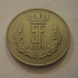 Luxembourg - Jean , 5 Francs 1971. CuNi KM56 (15168)