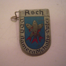 1934-39 German VDA donation pin. Coat of arms German cities abroad -  Asch / Aš (CZE). Metal T019 (15041)