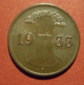 Third Reich - 1 Reichspfennig 1933 A ,  traces original color !!  Bronze J313/KM37 (6656)