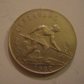 Luxembourg - Charlotte , 1 Franc 1962. CuNi KM46.2 (15180)