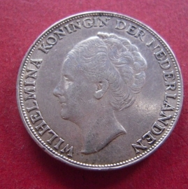 Wilhelmina - 1 Gulden 1944 P(hiladelphia struck in USA during WWII). Xf !!! Silver KM161.2 (7357)