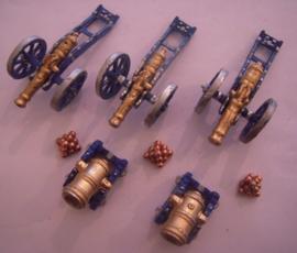 1800's Cannons 3x + mortars 2x semi-flat 40mm scale (15266)