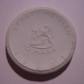Meissen , 10 Mark 1921. Meissen Porselein 36mm Sch185n - V (14947)