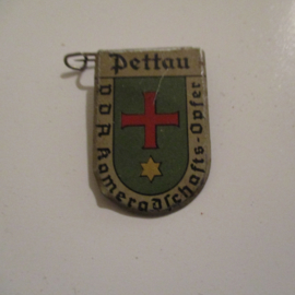 1934-39 German VDA donation pin. Coat of arms German cities abroad - Pettau / Ptuj (SVN). Metal 30x20mm T056 (16233)