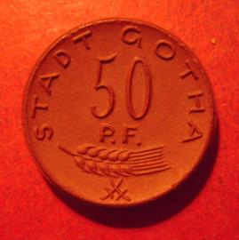 Gotha , 50 Pfennig 1921 - Quäker - P.F. !!!  Meissen Porzellan 23mm Sch130a - II (12282)