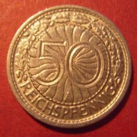 Weimarer Republik - 50 Reichspfennig 1928 A                J324/KM49 (8761)