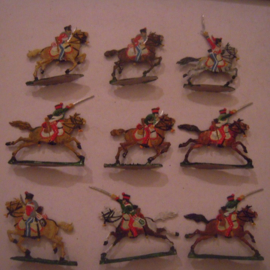 1814  French hussars , 9x flat 30mm scale. Kieler Zinnfiguren (15543)