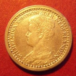 Wilhelmina - 10 Cent 1918. Xf !!! Silver KM145 (7319)