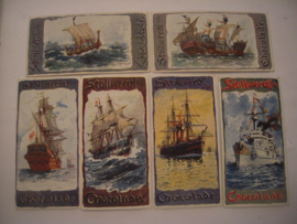 Old German collector cards - Naval complete series - I - VI , 6x Stollwerk Chocolate album 4 group 144 , 1900 - 1920's , 92x48mm (15292)