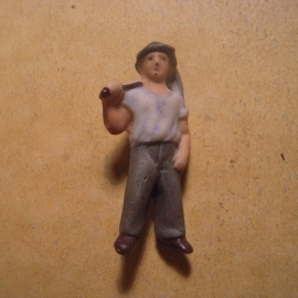 1939-03-4/5 German WHW donation pin. Producing Germany - Worker with hoedad. Porcelain 46mm T204.1 (13635)