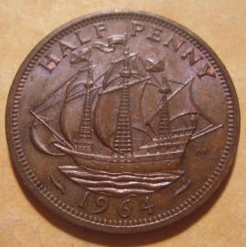 Great Britain - Elizabeth II , ½ Penny 1964     KM896 (12874)