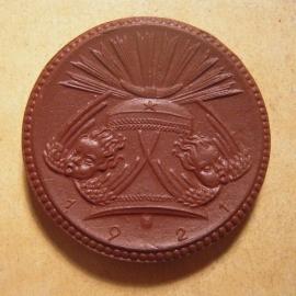 Meissen , 10 Mark 1921 - Gedenkklokkenfonds. Meissen Porselein 42mm Sch379a - III (13627)