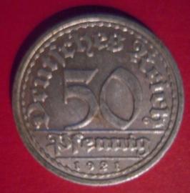 Weimar Republic - 50 Pfennig 1921 G. Al J301/KM27 (6208)