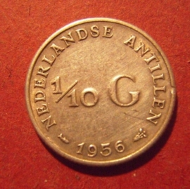 Nederlands Antilles , Juliana , 1/10 Gulden 1956      KM3 (11835)
