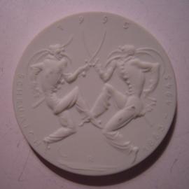 1995 Meissen , Sword dancers - Official dealer C.Schulze Nachf. Braunschweig. Meissen Porcelain 51mm W10.441-10.493 (15085)
