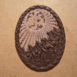 Gau Sachsen 1934/35 WHW Spende. NSV-Trägerin des WHW. Metallabzeichen mit Nadel T003 (13446)