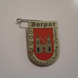 1934-39 German VDA donation pin. Coat of arms German cities abroad - Dorpat / Tartu (EST). Metal 30x20mm T026 (16230)