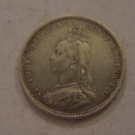 Great Britain - Victoria , 3 Pence 1887 - Jubilee portrait.      KM758 (14094)
