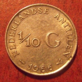 Netherlands Antilles , Juliana , 1/10 Gulden 1966 (fish)    KM3 (11489)