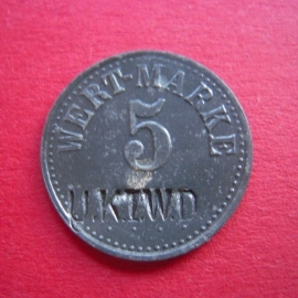 Wik - U.K.I.W.D. = Casino Non-commissioned officers First Werft division WWI ,  5 Pfennig No date Zn M27274.1 (4892)
