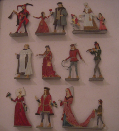 1100 - 1200's Medieval civilians , 10x flat 50mm scale (16079)