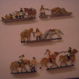 1760 Austrian cuirassiers , 5x group flat 30mm scale. Grünewald (15570)