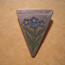 1930's German Reichsmütterdienst donation pin. Forget-me-not. Aluminium T005 (12751)