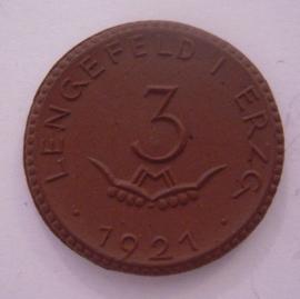 Lengefeld - Wittig u. Schwabe , 3 Mark 1921. Meissen Porselein 28mm Sch306a - III (14276)