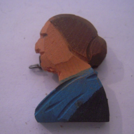 1936 Spring German VDA donation pin. Traditional costumes - Woman , blue dress. Wooden 35mm     T090 (16111)