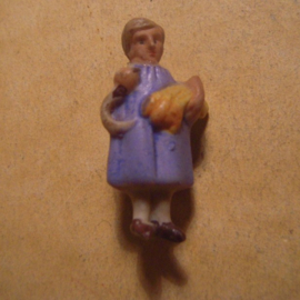 1930's German WHW donation pin Gau ?? Girl with sickle. Porcelain (13639)