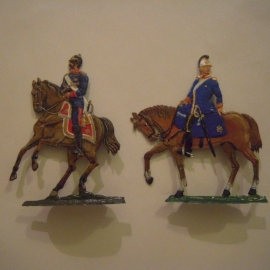 1871 Prussian + Saxon dragoon , 2x flat 50mm scale , 83mm high (14688)