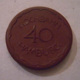 Hamburg Hochbahn , 40 Pfennig 1921. Meissen Porselein 27mm Sch295a - II (15864)